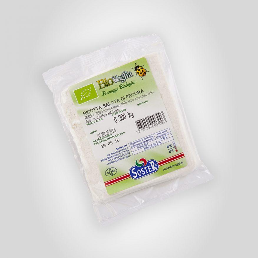Organic dry salted sheep's Ricotta wedge
